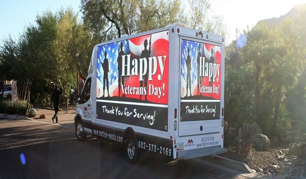 Sunrise's p4.8 truck LED billboard was supporting American veterans